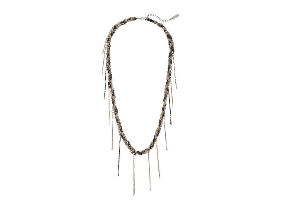 Steve Madden - Braided Fringe Necklace (Gold 1) Necklace