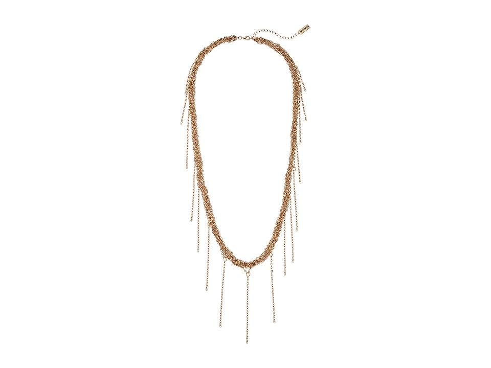 Steve Madden - Braided Fringe Necklace (Gold) Necklace