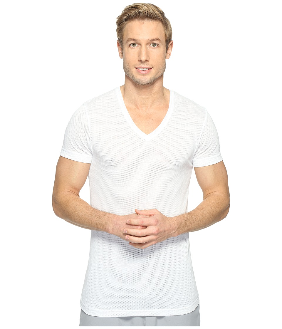 2(X)IST - Active Core Mesh V-Neck (White) Men's Clothing