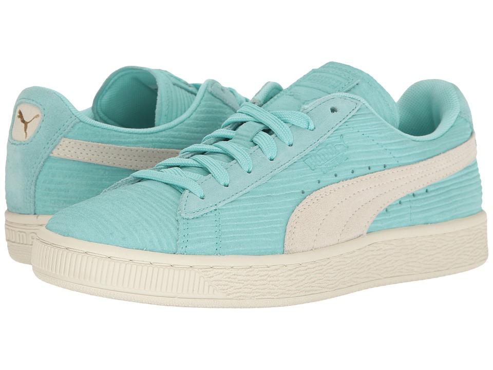 PUMA - Suede Classic Emboss Bamboo (Aruba Blue/Puma White) Women's Shoes