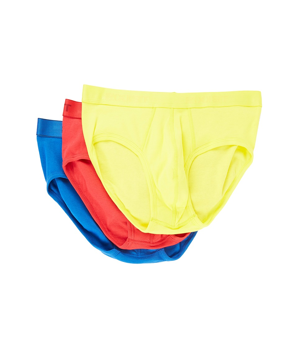 2(X)IST - 3-Pack ESSENTIAL Contour Pouch Brief (Blazing Yellow/Formula One/Lapis) Men's Underwear
