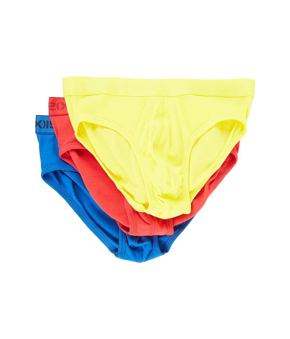 2(X)IST - 3-Pack ESSENTIAL No Show Brief (Blazing Yellow/Formula One/Lapis) Men's Underwear