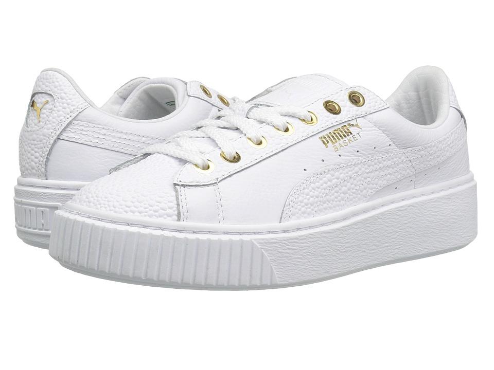 PUMA - Basket Platform Pearlized (Puma White/Puma Team Gold) Women's Shoes