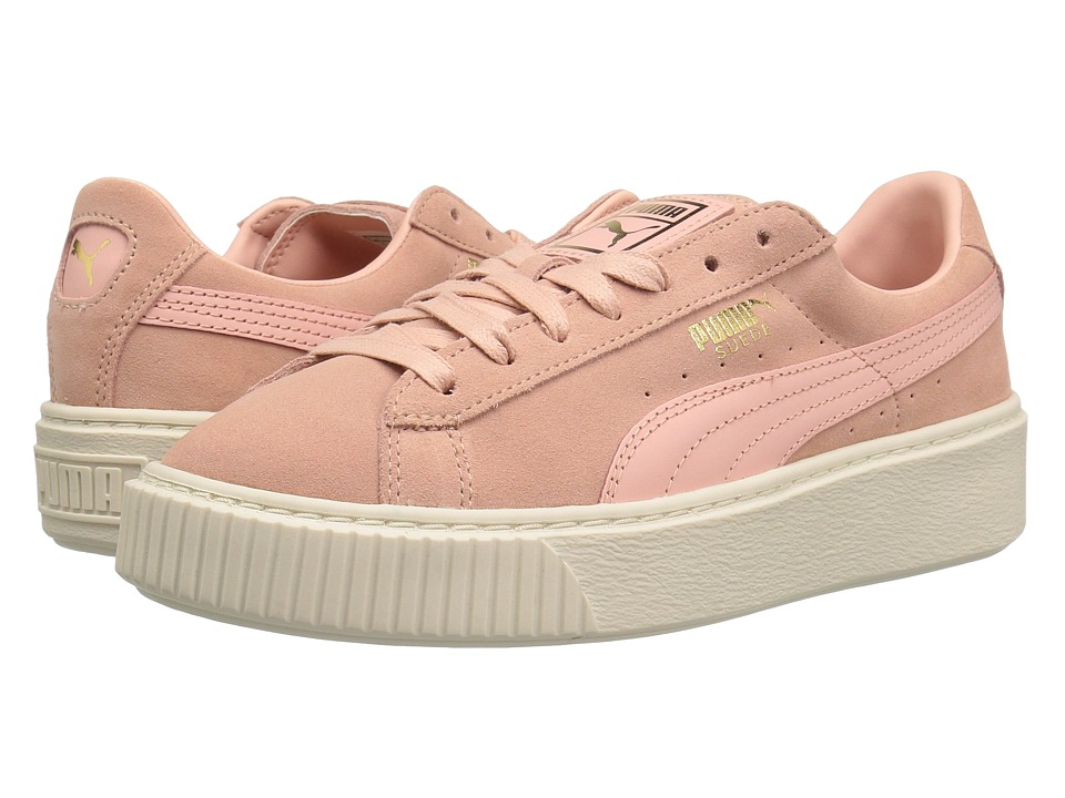 PUMA - Suede Platform Core (Coral Cloud/Whisper White) Women's Shoes