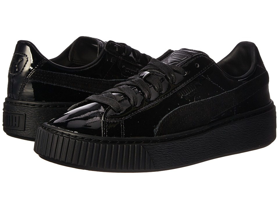 PUMA - Basket Platform Patent (Puma Black/Puma Black) Women's Shoes
