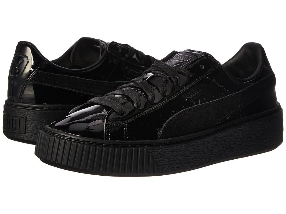 PUMA - Basket Platform Patent (Puma Black/Puma Black) Women's Shoes