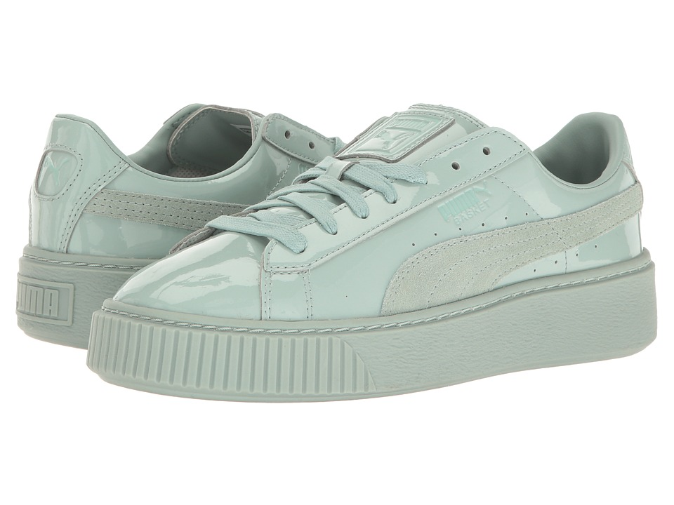 PUMA - Basket Platform Patent (Blue Surf/Blue Surf) Women's Shoes