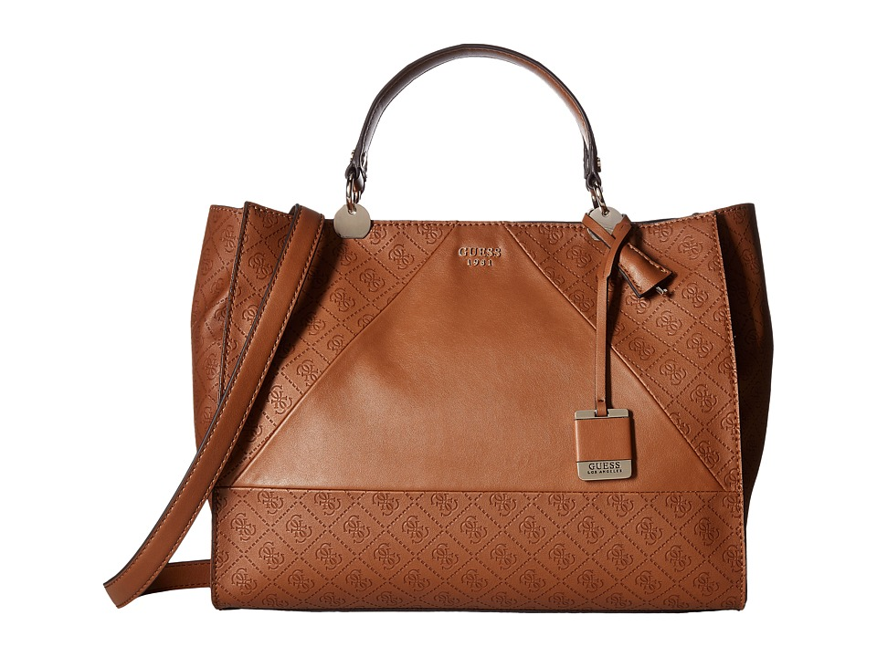 GUESS - Cammie Large Satchel (Cognac) Satchel Handbags