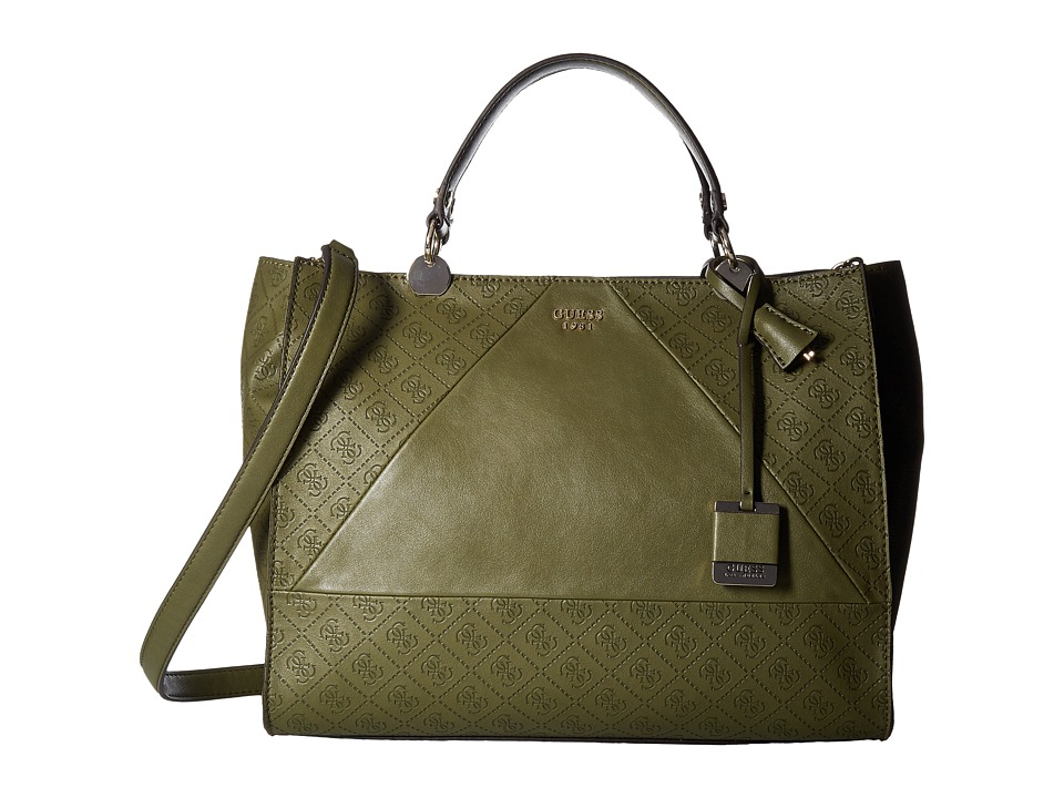 UPC 885935939744 product image for GUESS - Cammie Large Satchel (Olive) Satchel  Handbags ... 9ba1d58833126
