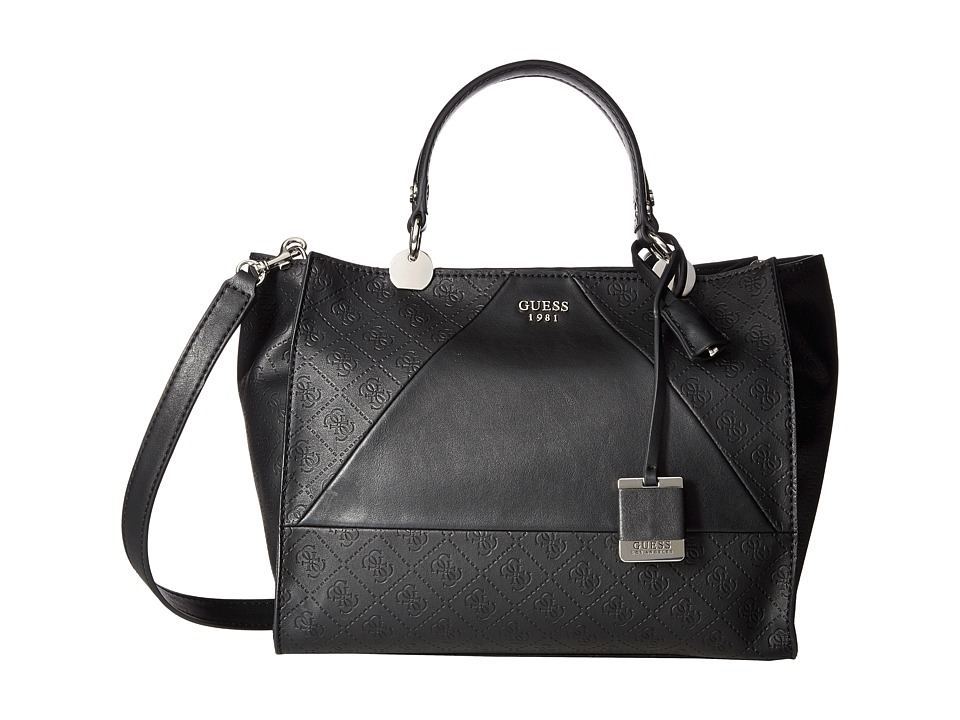 GUESS - Cammie Satchel (Black) Satchel Handbags