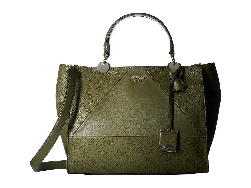 GUESS - Cammie Satchel (Olive) Satchel Handbags