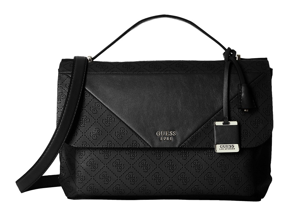GUESS - Cammie Top-Handle Flap (Black) Top-handle Handbags