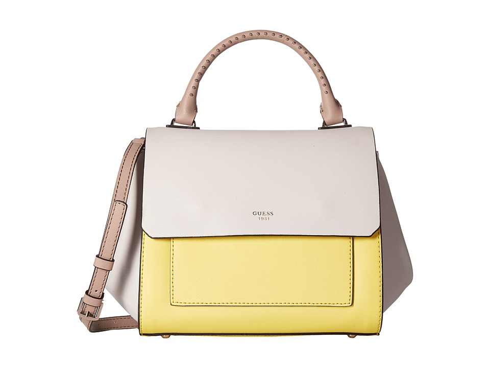 GUESS - Evette Top-Handle Flap (Citron Multi) Top-handle Handbags