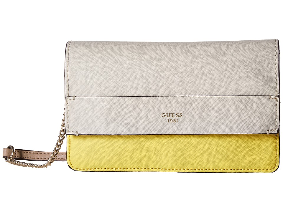 GUESS - Evette Petite Crossbody Flap (Citron Multi) Cross Body Handbags