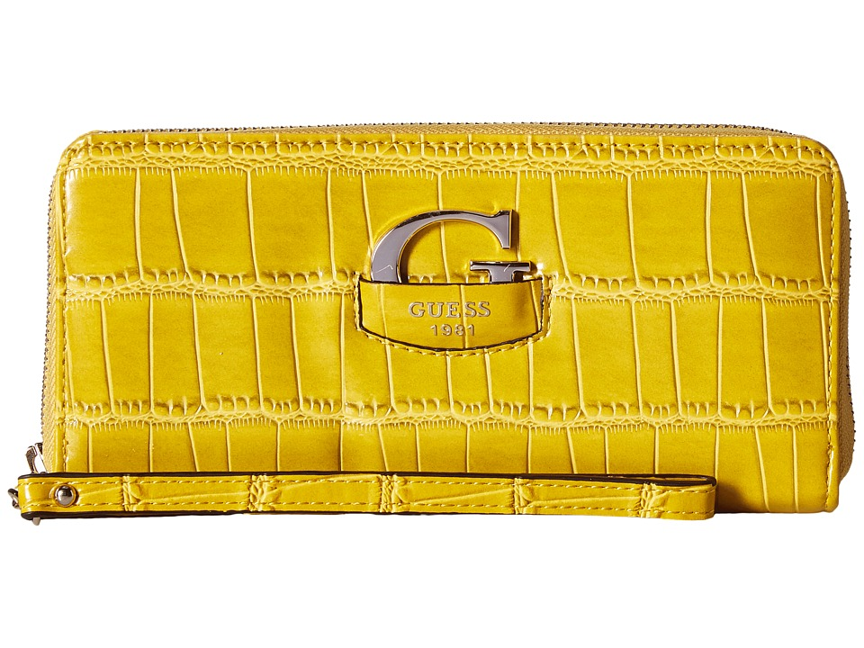 GUESS - Lexxi Large Zip Around (Citrine) Handbags