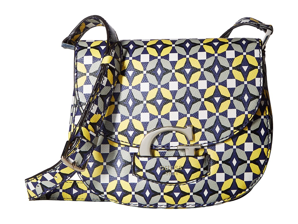 GUESS - Lexxi Crossbody Saddle Bag (Blue Multi) Cross Body Handbags
