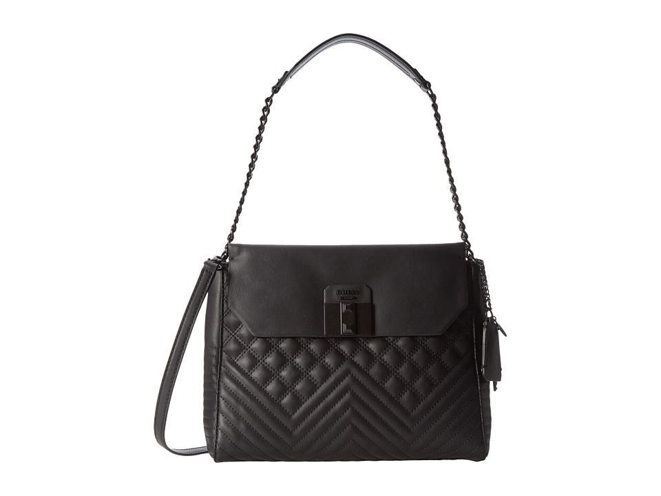 GUESS - Rebel Roma Shoulder Bag (Black) Shoulder Handbags