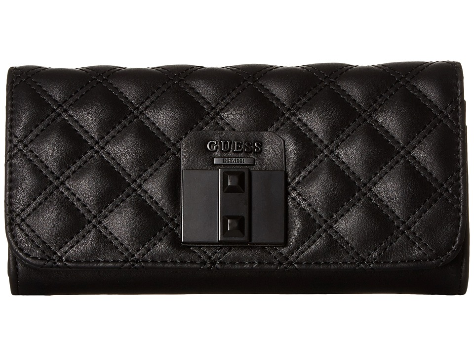 GUESS - Rebel Roma Large Flap Organizer (Black) Handbags