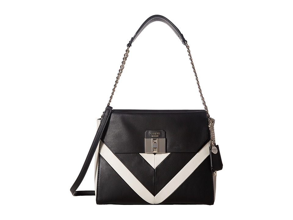 GUESS - Rebel Roma Shoulder Bag (Black Multi) Shoulder Handbags