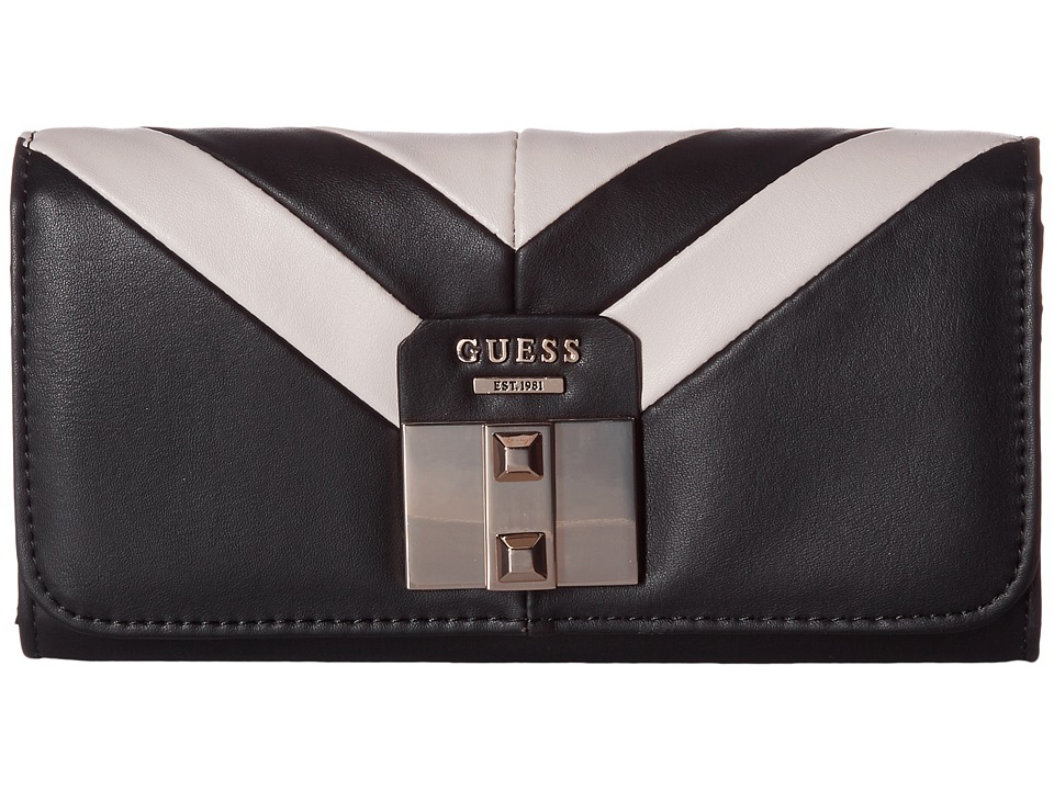 GUESS - Rebel Roma Large Flap Organizer (Black Multi) Handbags
