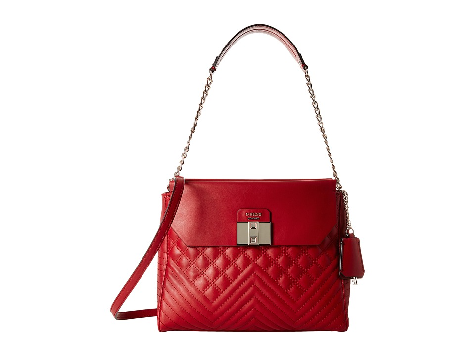 GUESS - Rebel Roma Shoulder Bag (Ruby) Shoulder Handbags