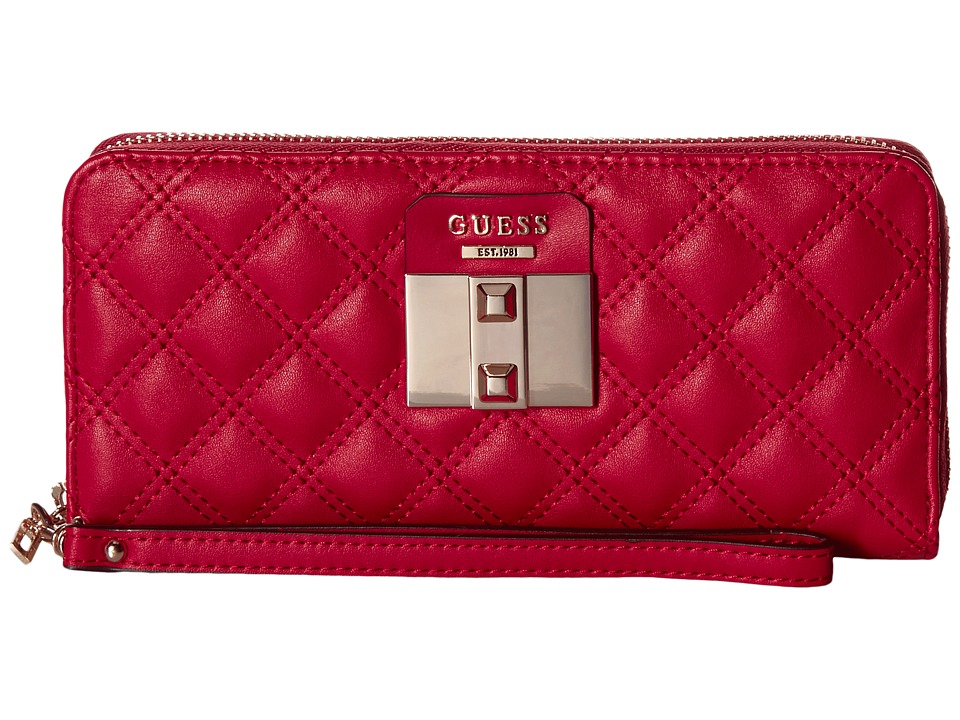 GUESS - Rebel Roma Large Zip Around (Ruby) Handbags