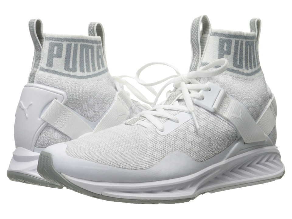 PUMA - Ignite evoKNIT (Puma White/Quarry/Vaporous Gray) Men's Running Shoes