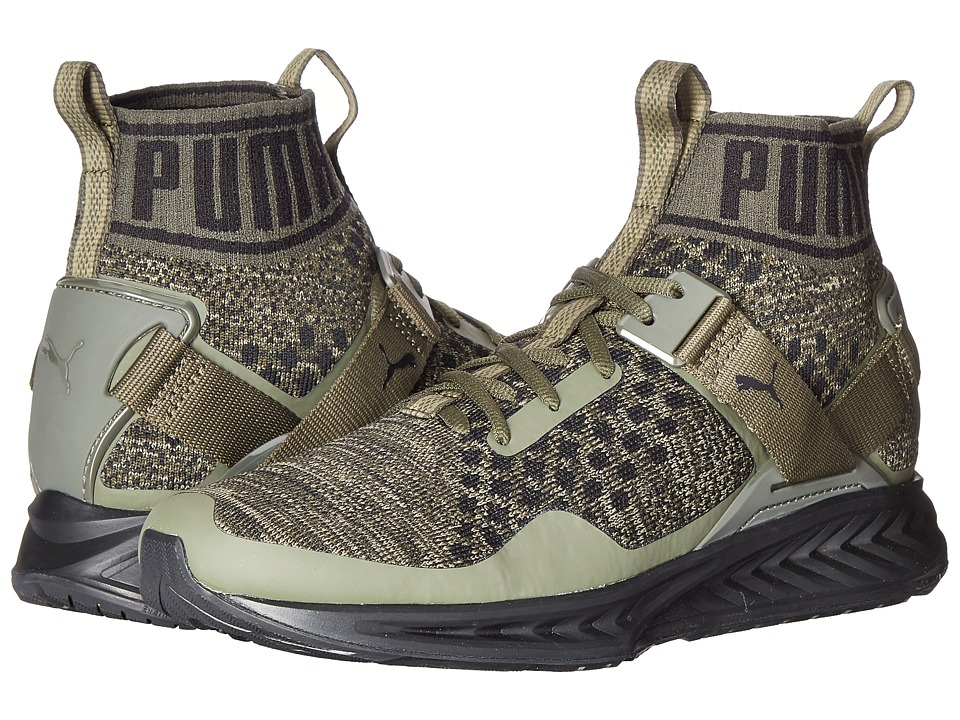 PUMA - Ignite evoKNIT (Burnt Olive/Forest Night/Puma Black) Men's Running Shoes