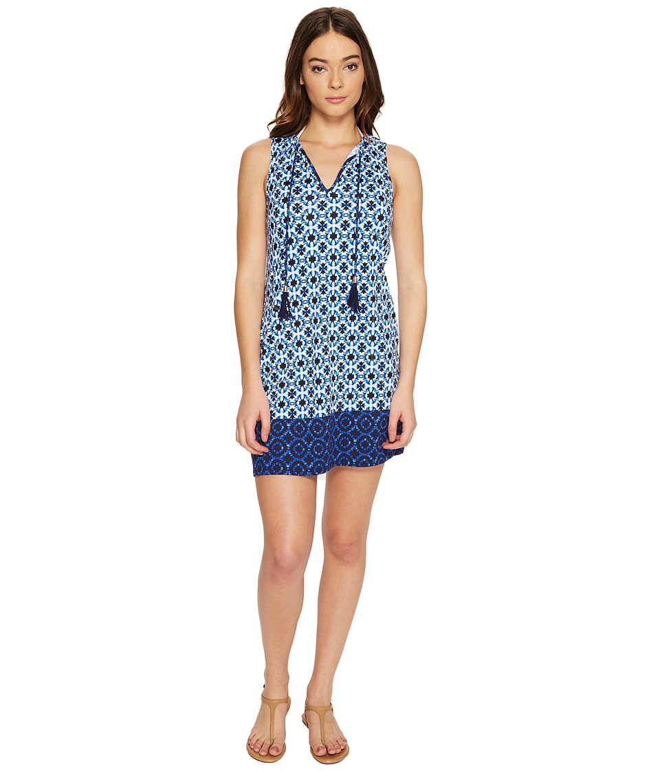 Tommy Bahama - Shibori Splash Split-Neck Swim Dress Cover-Up (Plunge Blue) Women's Swimwear
