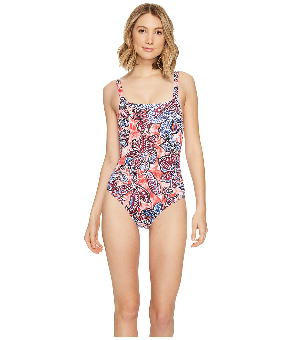 Tommy Bahama - Java Blossom Over-The-Shoulder Crossback One-Piece Swimsuit (Calypso Pink) Women's Swimsuits One Piece