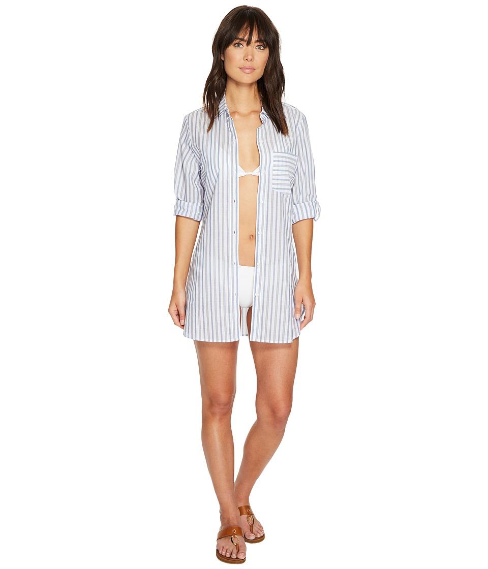 Tommy Bahama - Ticking Stripe Boyfriend Shirt Cover-Up (White) Women's Swimwear