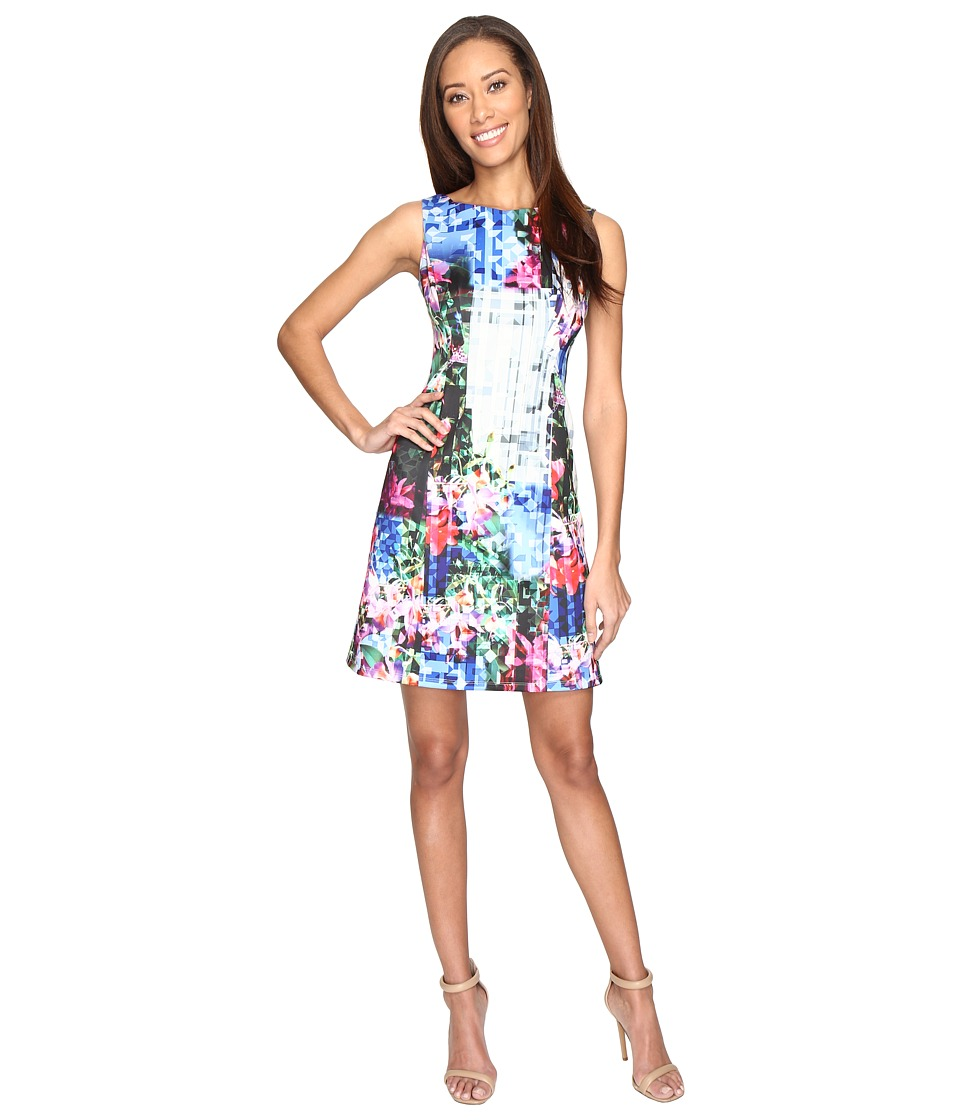 Adrianna Papell - Printed Geo Corsage Seamed A-Line Dress (Fuchsia Multi) Women's Dress