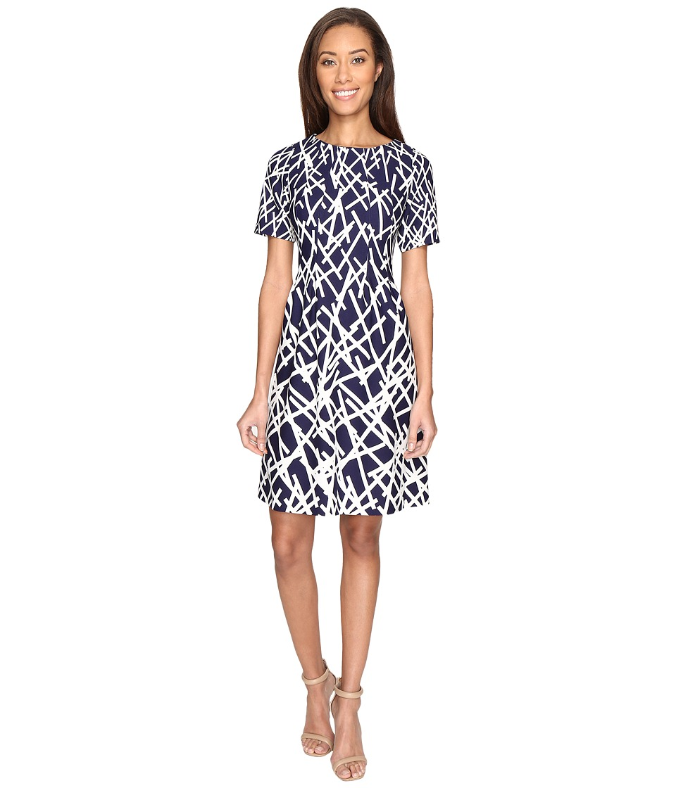 Adrianna Papell - Printed Dancing Sticks Scuba Crepe No Waist Fit and Flare Dress (Navy/Ivory) Women's Dress