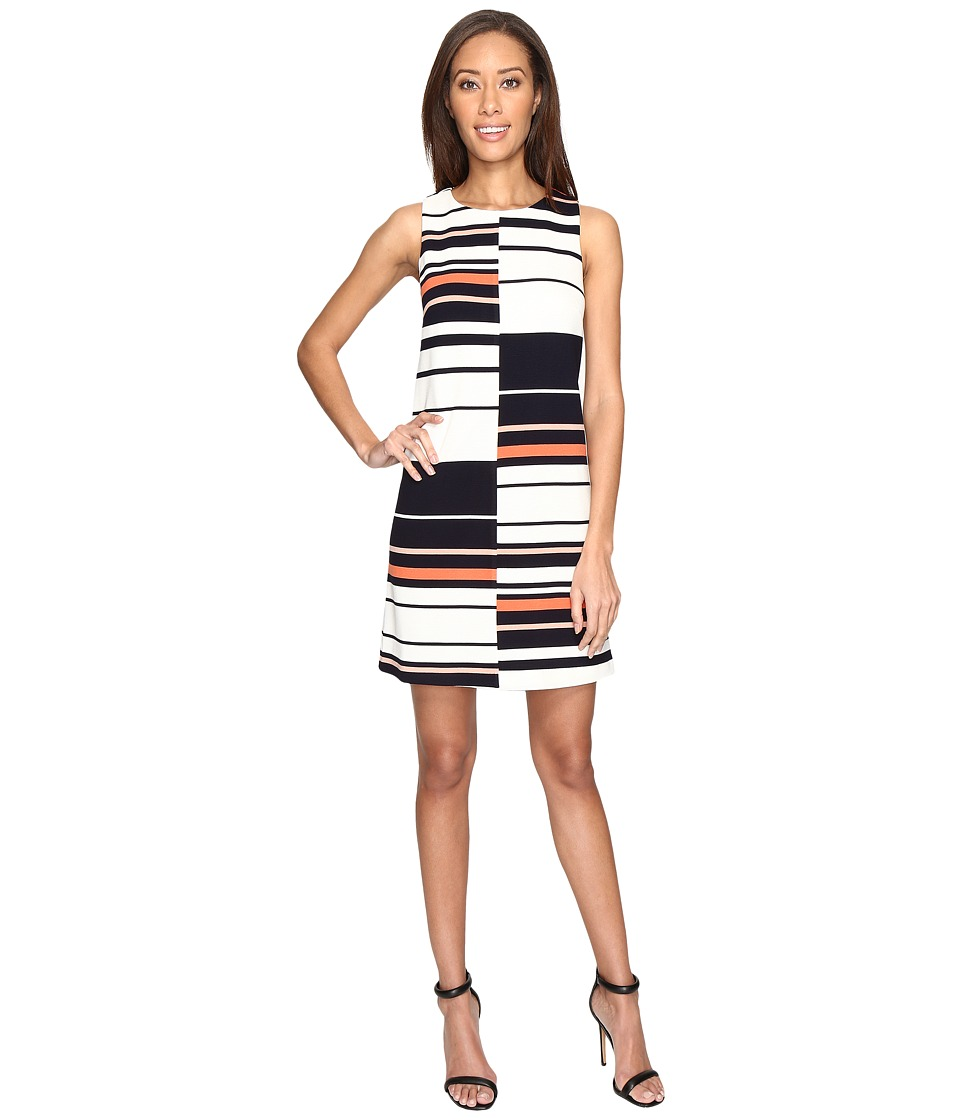 Adrianna Papell - Sleeveless Ottoman Stripe Shift Dress (Fire Cracker Multi) Women's Dress