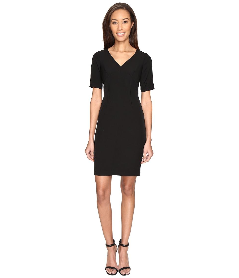 Adrianna Papell Exposed Dart Stretch Crepe Dress (Black) Women