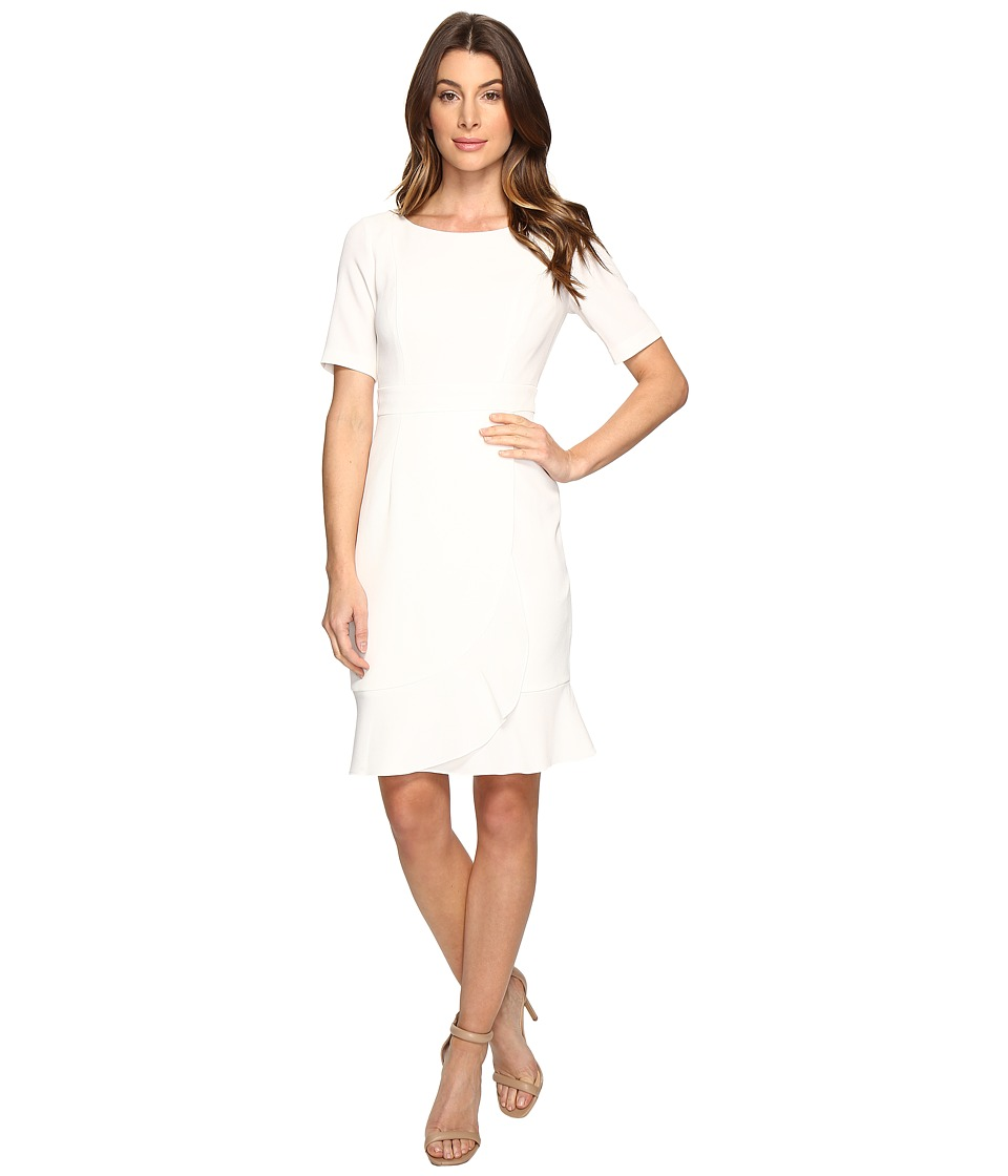Adrianna Papell Line Bateaux Neckline Sheath Dress with Wrapped Skirt Detail (Ivory) Women