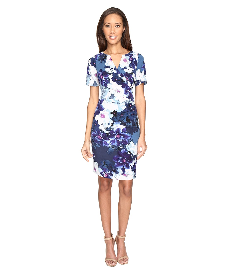 Adrianna Papell Budding Layer Printed Tiffany Twill Side Drape Pleated Sheath Dress with Elbow Sleeve (Blue Multi) Women