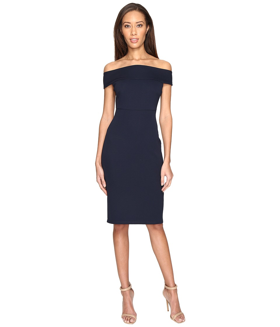 Adrianna Papell - Off Shoulder Color Block Fitted Dress (Blue Moon) Women's Dress