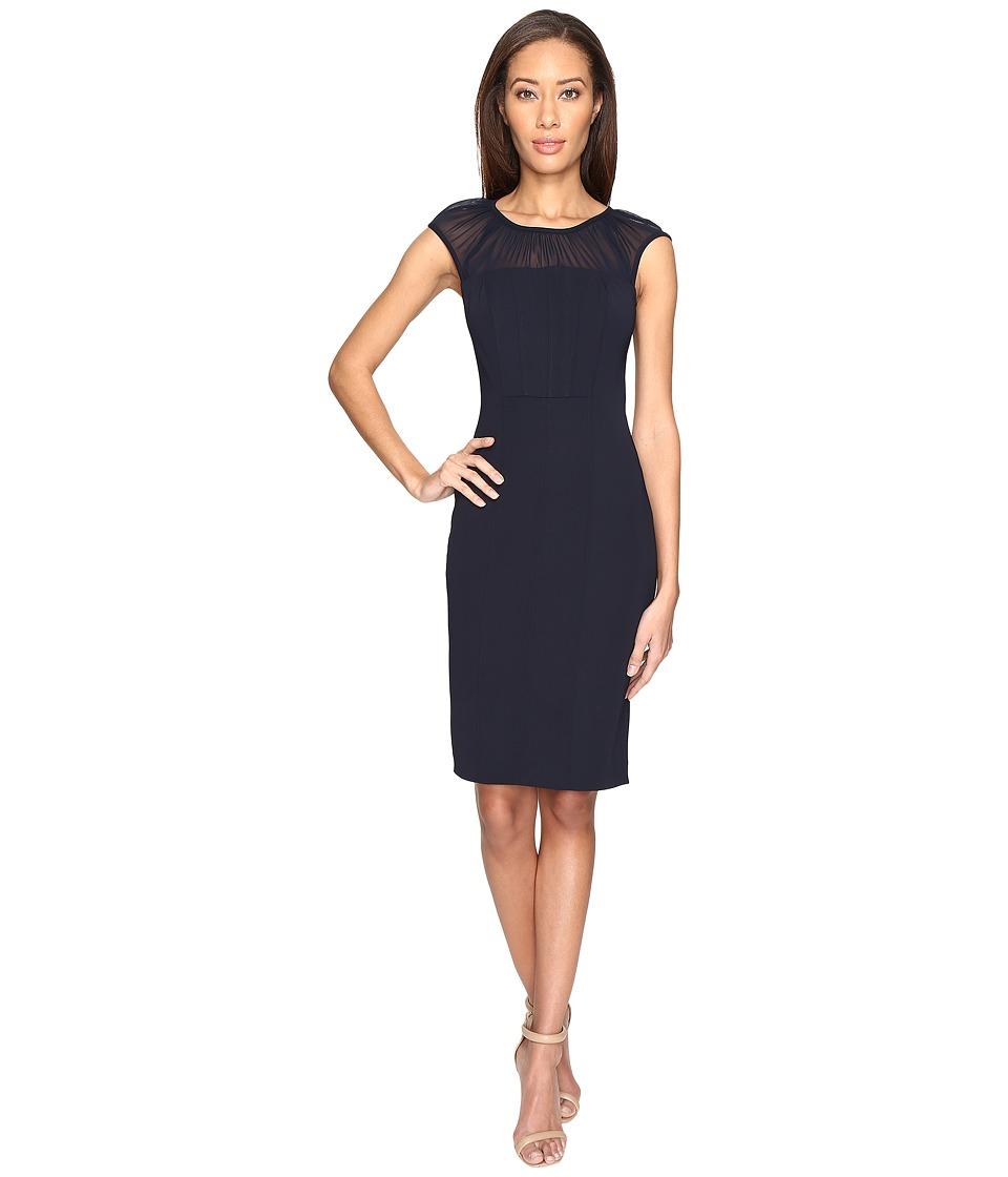 Adrianna Papell - Gathered Netting Yoke Power Stretch Sheath Dress (Navy) Women's Dress