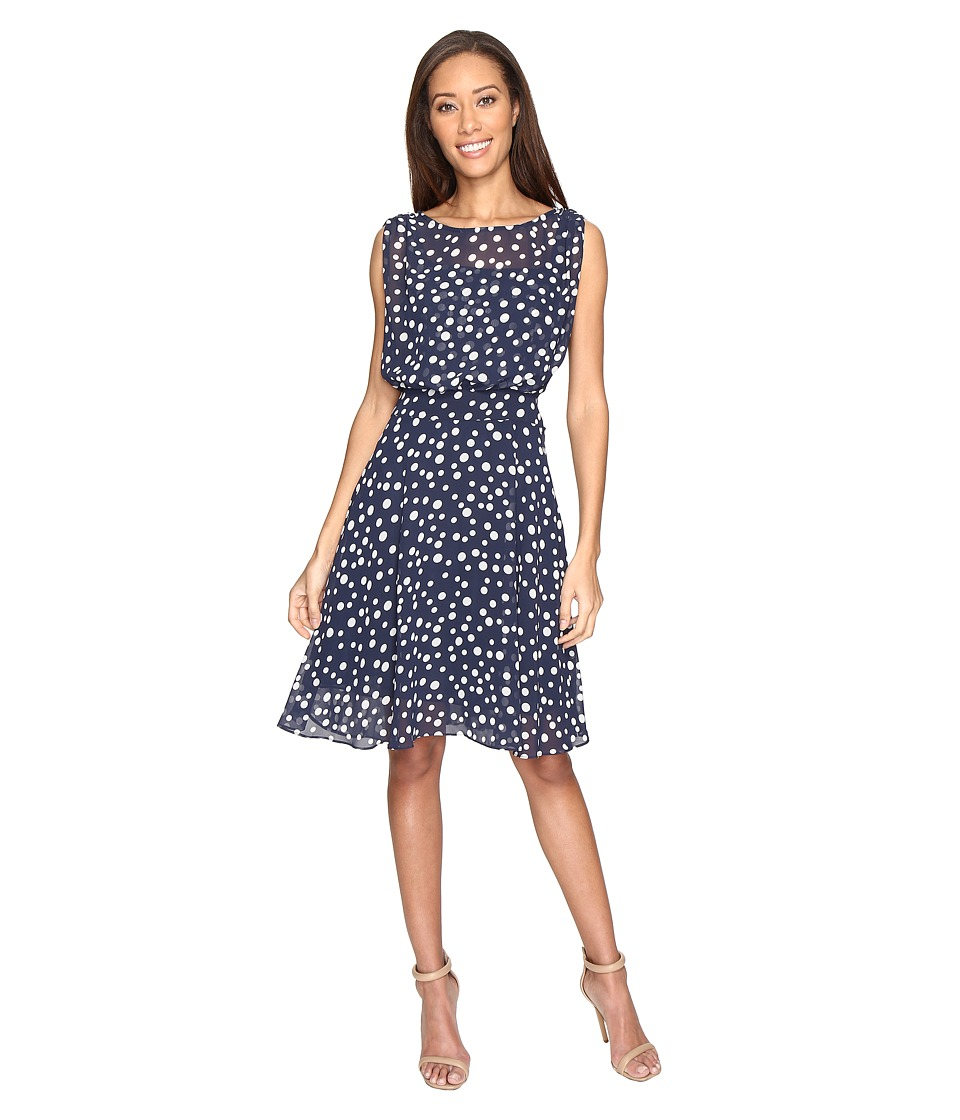 Adrianna Papell - Printed Dot Fit and Flare Dress with Blouson Bodice (Navy/Ivory) Women's Dress