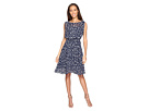 Adrianna Papell - Printed Dot Fit and Flare Dress with Blouson Bodice