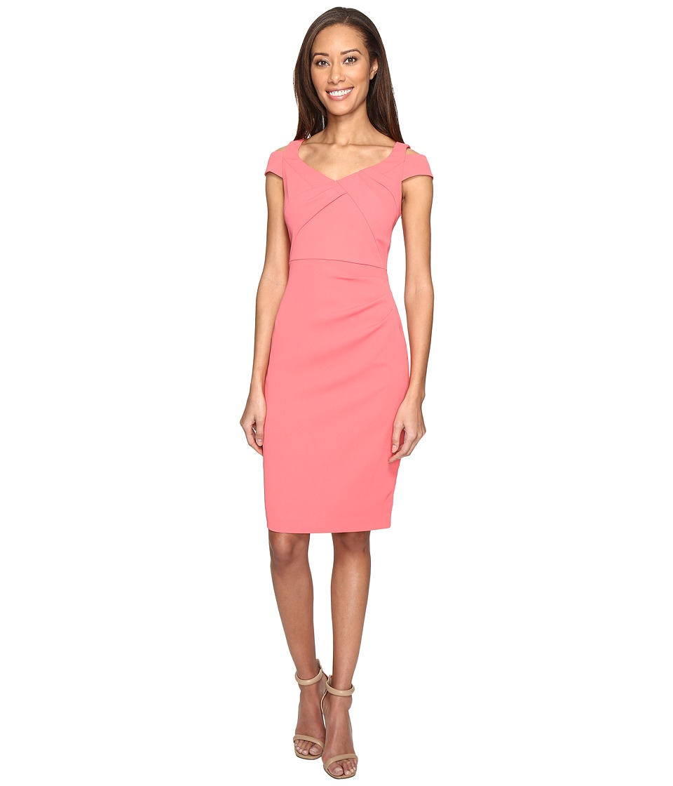 Adrianna Papell - Power Stretch Sheath Dress with Cold Shoulder and Draped Bodice (Desert Flower) Women's Dress