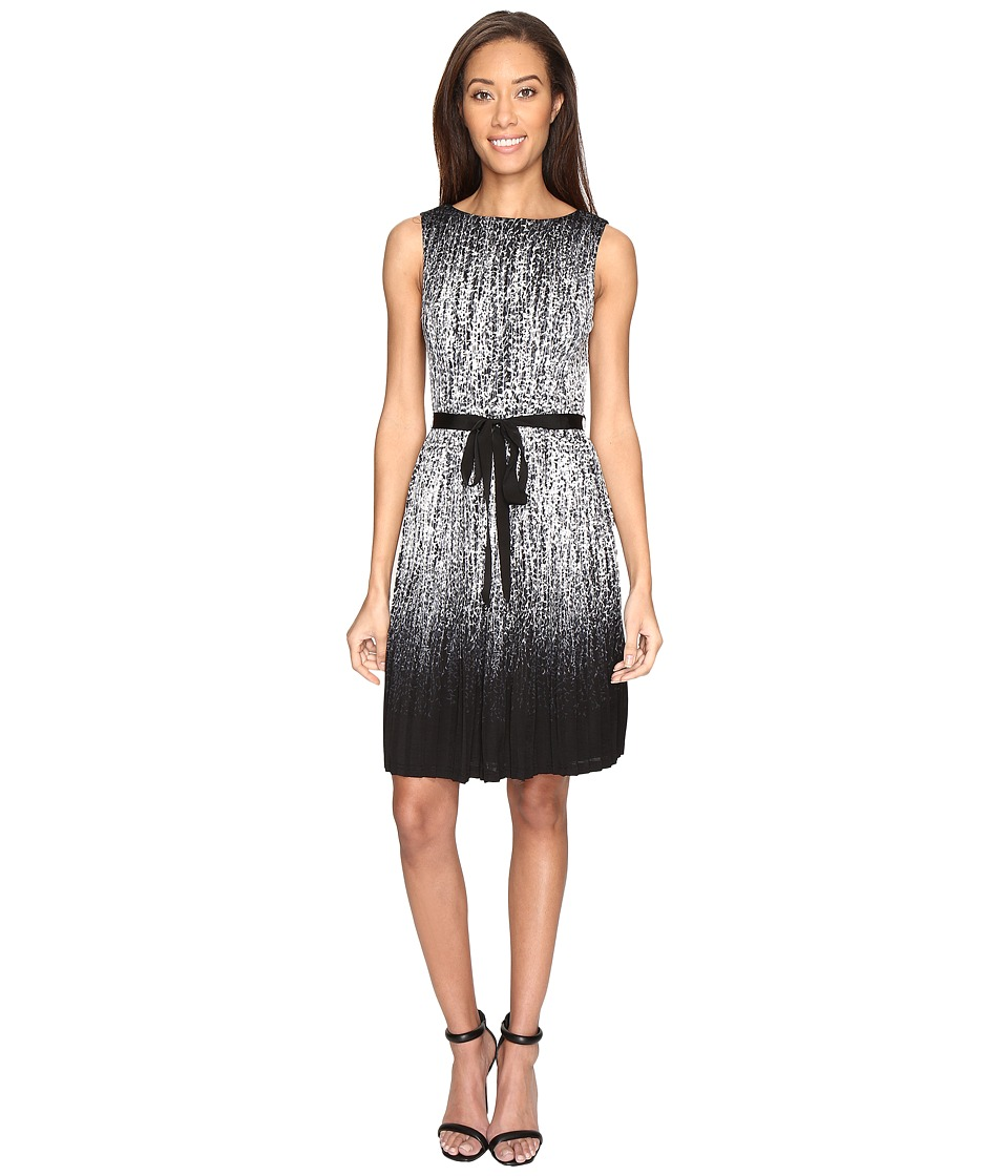 Adrianna Papell - Printed Miami Mesh Fit and Flare Dress with Full Pleated Skirt (Black/Ivory) Women's Dress