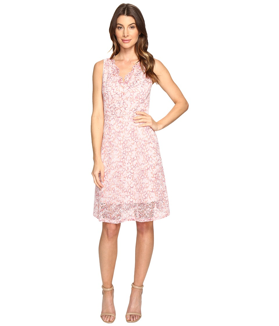 Adrianna Papell - Nautilus Ombre Lace Fit and Flare V-Neckline Dress (Red/Whisper Pink) Women's Dress