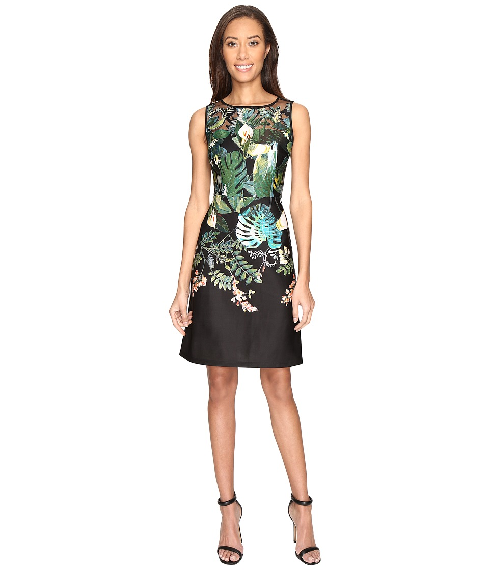 Adrianna Papell - Leafy Oasis Scuba A-Line Dress with Laser Cut Design (Black Multi) Women's Dress