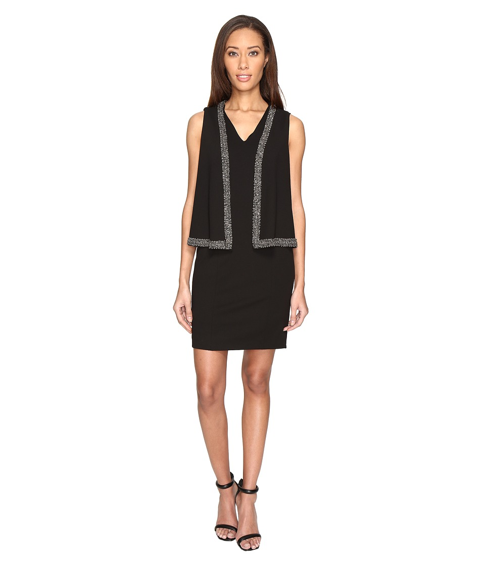 Adrianna Papell Knit Crepe Cape Dress with Cold Shoulder and Embellishment (Black) Women