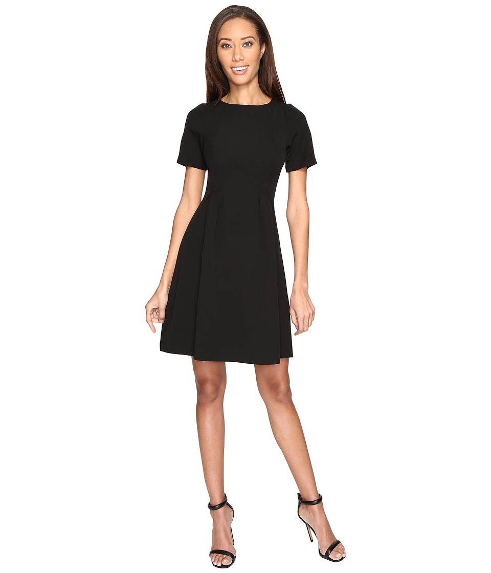 Adrianna Papell - Stretch Crepe Swing Dress with Release Pleats (Black) Women's Dress