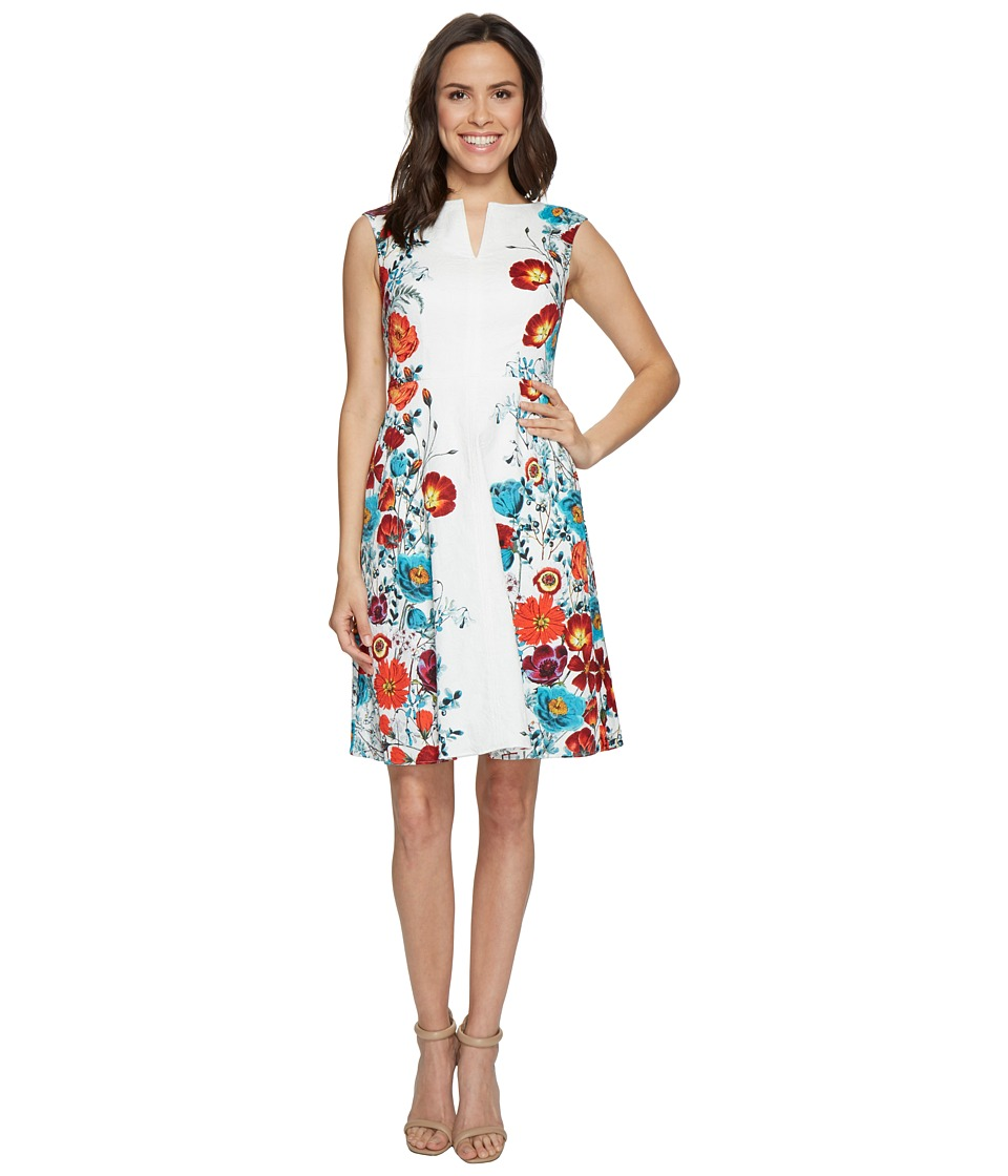 Adrianna Papell - Side Panel Floral Printed Jacquard Fit and Flare Dress (Red Multi) Women's Dress