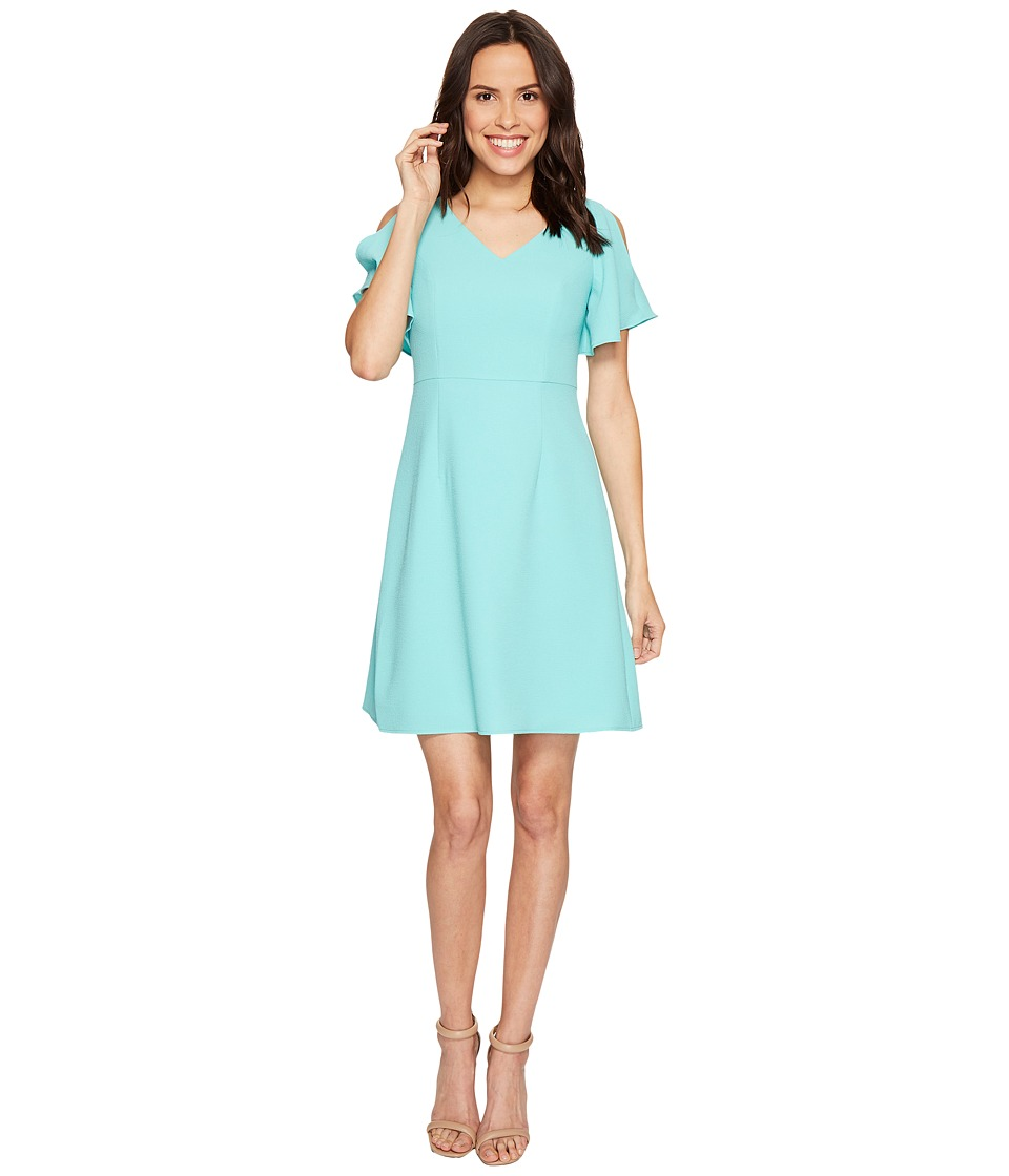 Adrianna Papell Cameron Textured Woven Fit and Flare Dress (Aruba Blue) Women