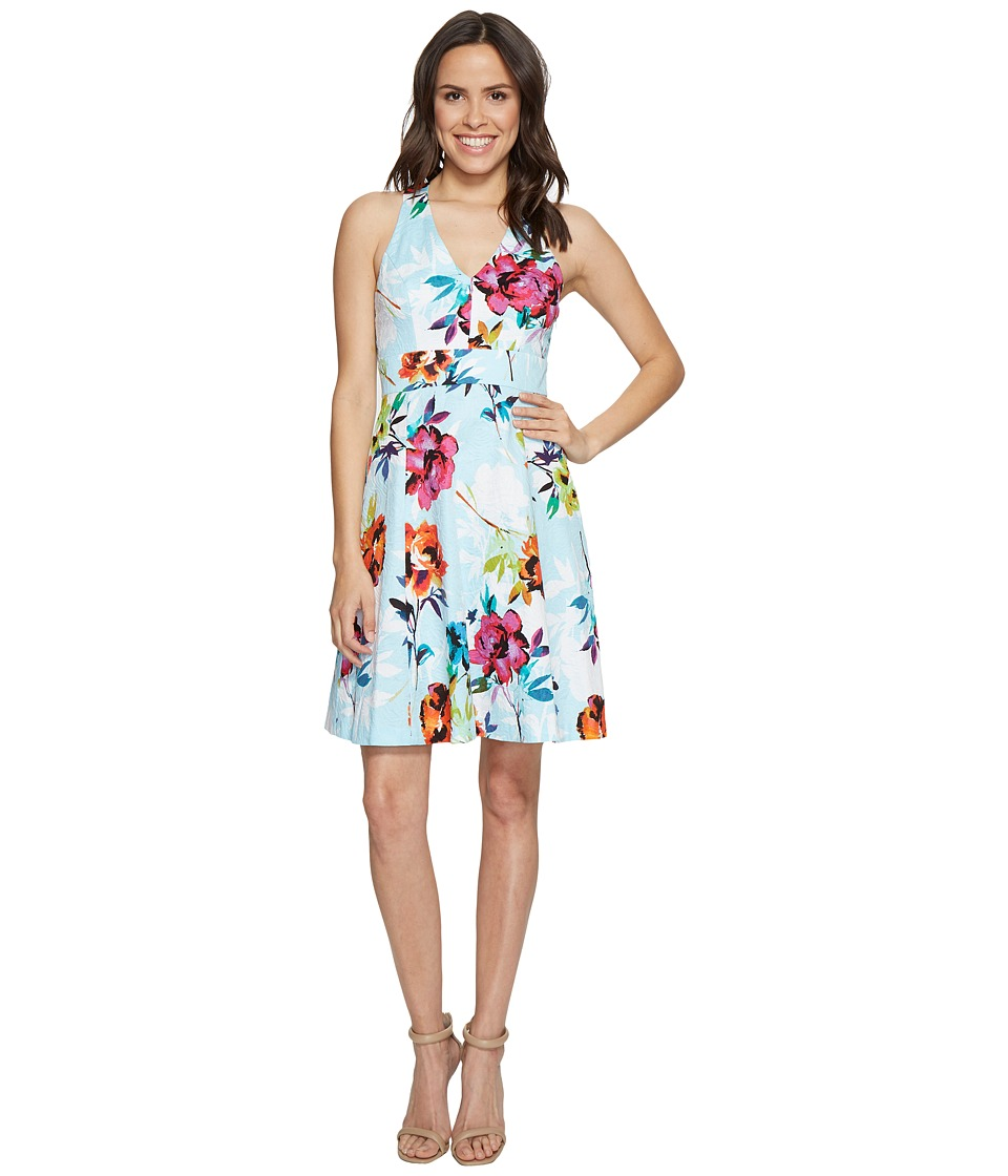 Adrianna Papell Marlowe Posy Printed Jacquard Fit and Flare SunDress